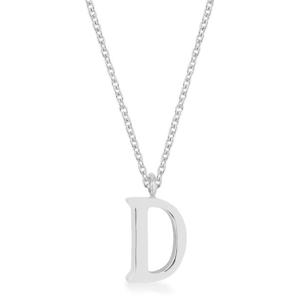 Elaina Rhodium Stainless Steel D Initial Necklace