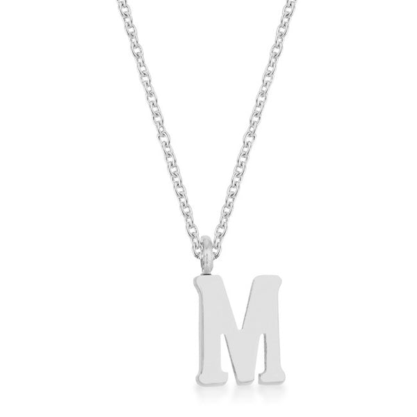 Elaina Rhodium Stainless Steel M Initial Necklace