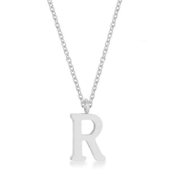 Elaina Rhodium Stainless Steel R Initial Necklace
