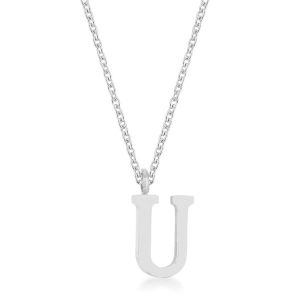 Elaina Rhodium Stainless Steel U Initial Necklace