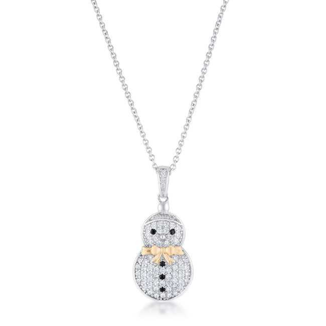 .35 ct CZ Two-Tone Snowman Pave Holiday Pendant