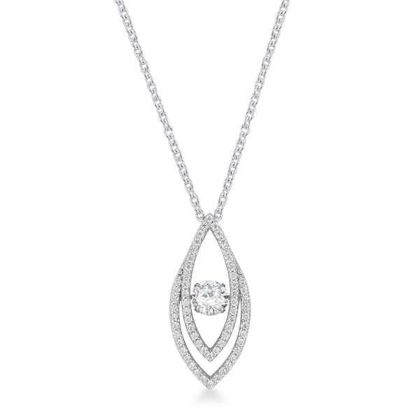 1.75Ct Rhodium Plated Contemporary Elliptical Dancing CZ Pendant