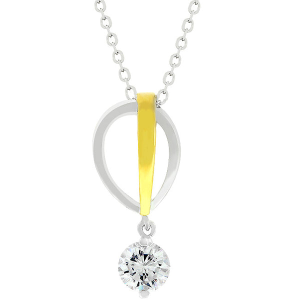 Two-tone Finish Raindrop Cubic Zirconia Pendant