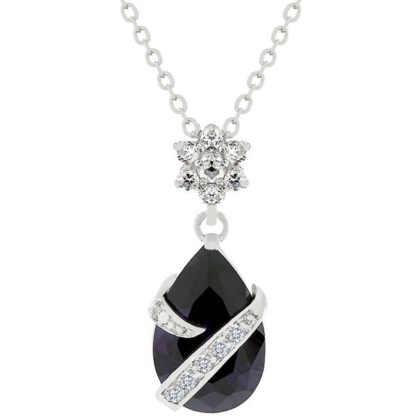 Wrapped Amethyst Purple Cubic Zirconia Pendant