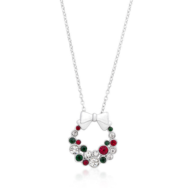 Holiday Wreath Colored Crystal Pendant