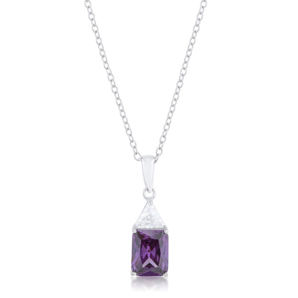 Classic Amethyst Cubic Zirconia Sterling Silver Drop Necklace