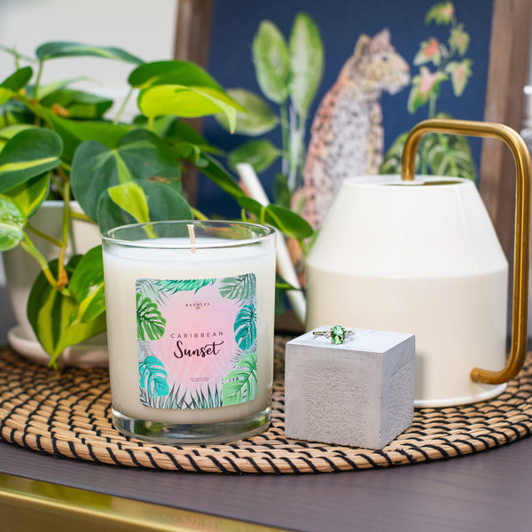 Caribbean Sunsent Scented Premium 10 oz Candle and Jewelry