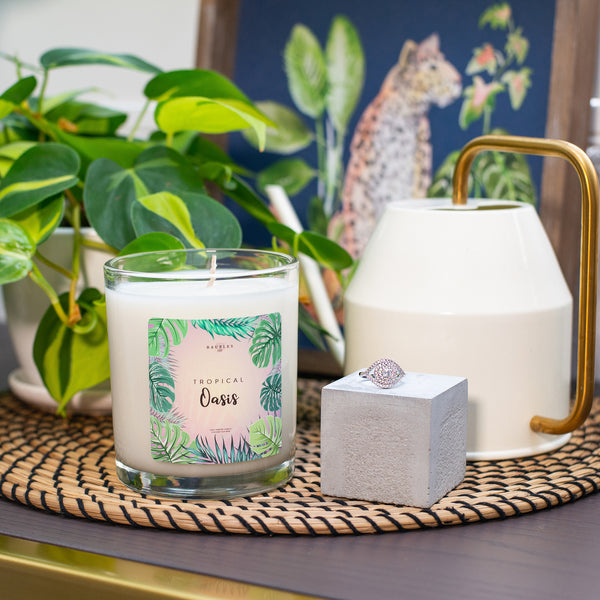 Tropical Oasis Scented Premium 10 oz Candle and Jewelry