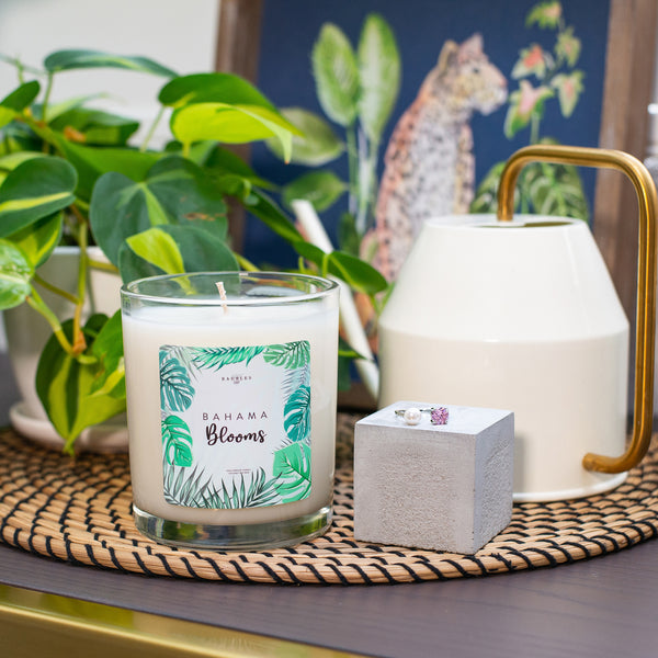 Bahama Blooms Scented Premium 10 oz Candle and Jewelry