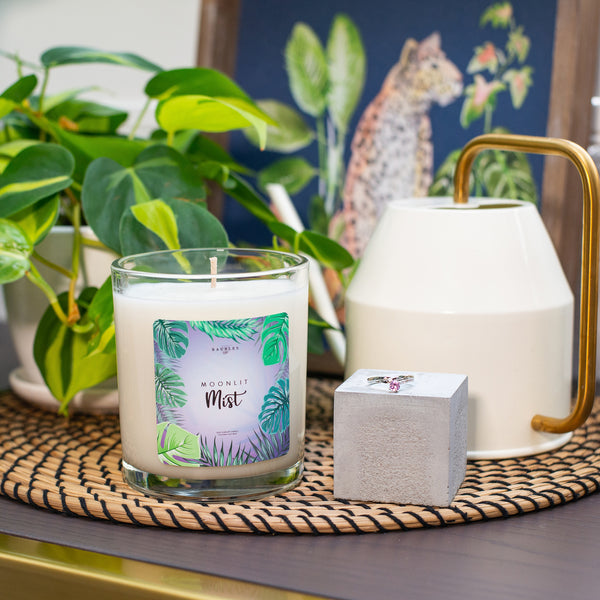 Moonlit Mist Scented Premium 10 oz Candle and Jewelry