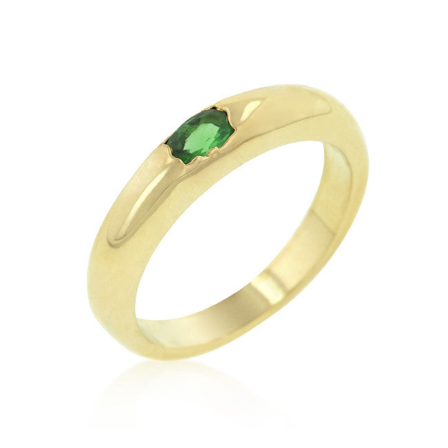 Green Oval Simple Ring