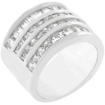 4 Row Rhodium Crystal Cocktail Ring