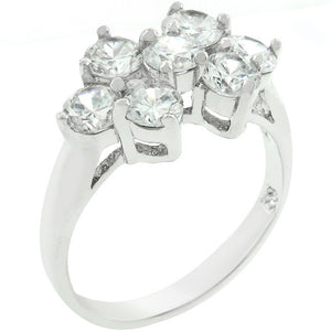 Round Cubic Zirconia Cluster Ring