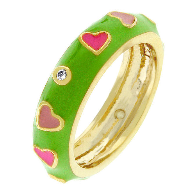 Tropical Enamel Hearts Ring
