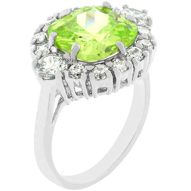 Framed Green Cubic Zirconia Ring