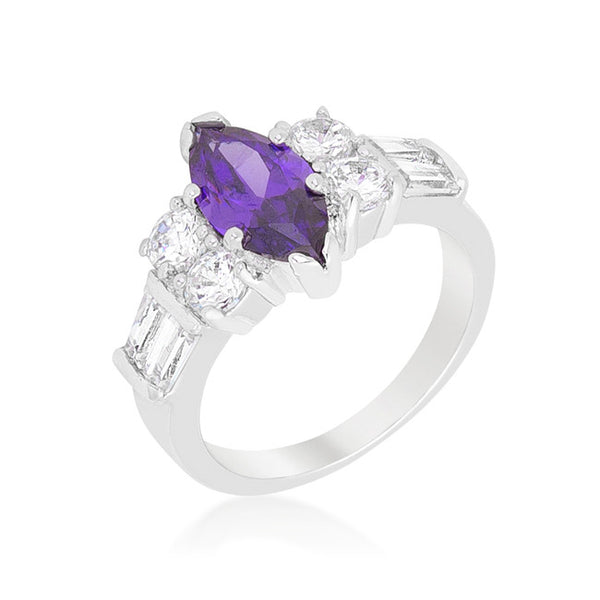 Amethyst Purple Elegant Cocktail Ring