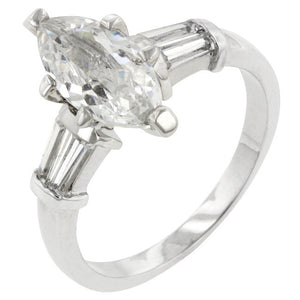 Silvertone Marquise Centerpiece Ring