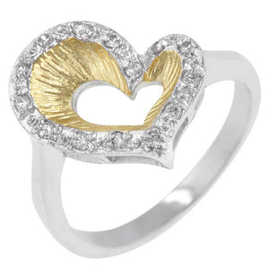 Accented Two-tone Finished Heart Ring