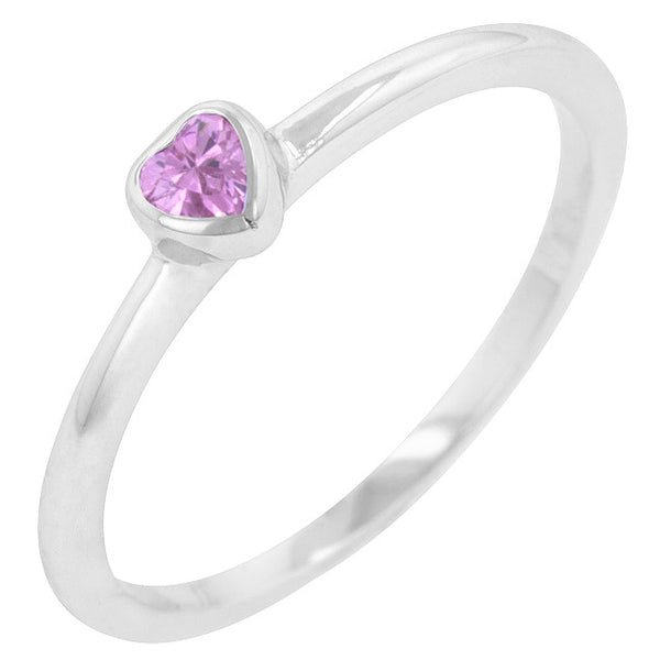Mini Pink Heart Solitaire Ring