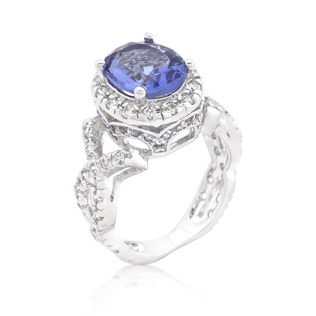 Tanzanite Cubic Zirconia Cocktail Ring