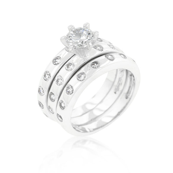 Bezel Set Engagement Ring Set