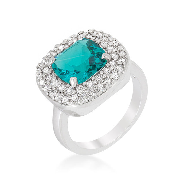 Micropave Aqua Bridal Cocktail Ring