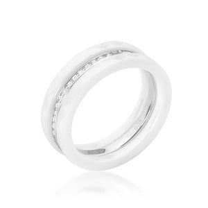 White Ceramic Triplet Ring With Cubic Zirconia