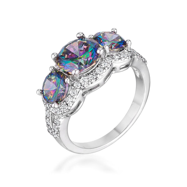 4 Ct Three Stone Rhodium Ring with Mystic and Clear CZ