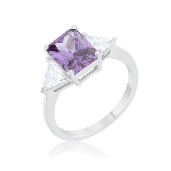 Classic Amethyst Rhodium Engagement Ring