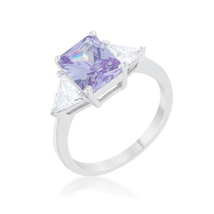 Classic Lavender Rhodium Engagement Ring
