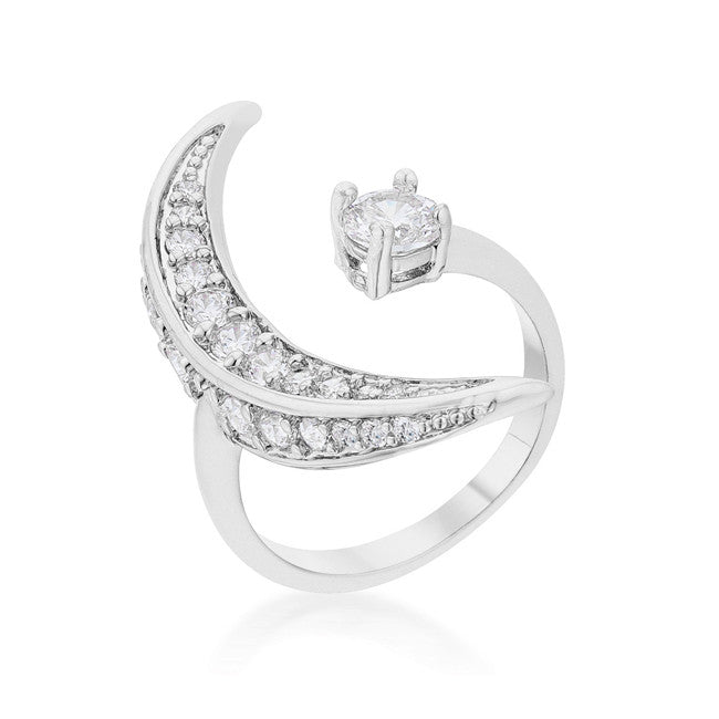 Luna .75ct CZ Rhodium Delicate Ring