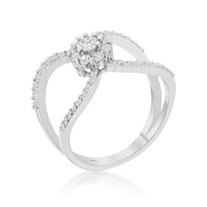 Joyce 0.4ct CZ Rhodium Delicate Floral Wrap Ring