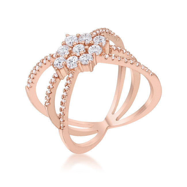 Mindy 0.8ct CZ Rose Gold Delicate Triple Wrap Ring