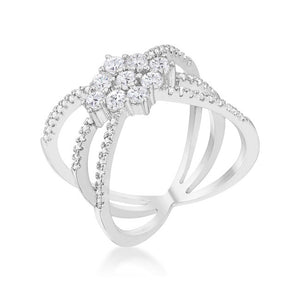 Mindy 0.8ct CZ Rhodium Delicate Triple Wrap Ring