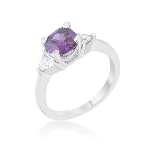 Shonda 1.8ct Amethyst CZ Rhodium Cushion Classic Statement Ring