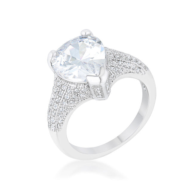 Rhyne 5.8ct CZ Rhodium Pear Cocktail Ring