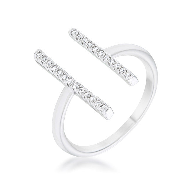 Sharna 12ct CZ Rhodium Parallel Contemporary Ring