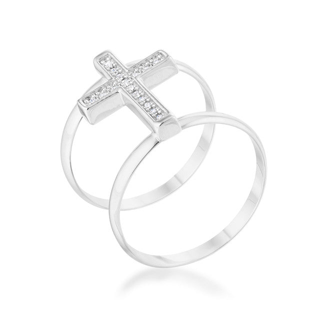 Francis 0.08ct CZ Rhodium Contemporary Cross Ring