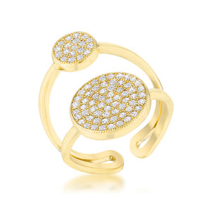 Wanda 0.81ct CZ 14k Gold Contemporary Double Circle Ring