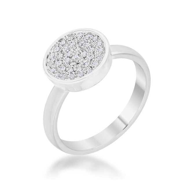 Krystal 0.2ct CZ Rhodium Pave Circle Ring