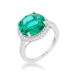 Emie 7.3ct Blue Green CZ Rhodium Classic Ring