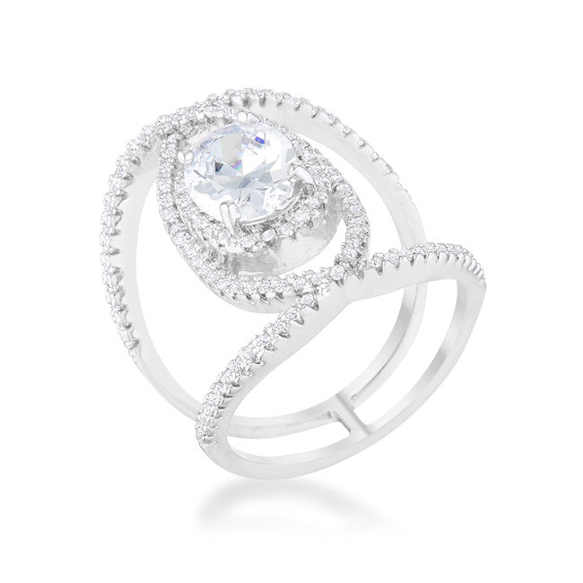 Maura 2.4ct CZ Rhodium Contemporary Cocktail Ring