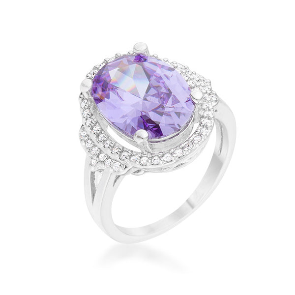 Melanie 5.95ct Amethyst CZ Rhodium Cocktail Ring