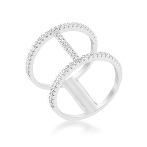 Christina 0.3ct CZ Rhodium Open Contemporary Wide Ring