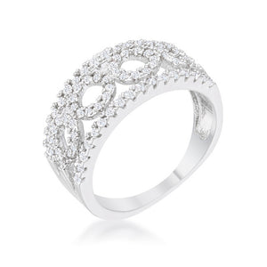 Rina 0.5ct CZ Rhodium Contemporary Band Ring