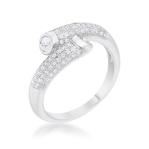 Perry 0.62ct CZ Rhodium Contemporary Wrap Ring