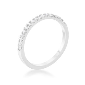 0.11ct CZ Rhodium Plated Classic Band Ring With Round Cut Cubic Zirconia In A Pave Setting In Silvertone