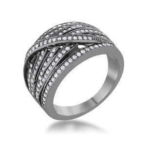 Shirah 0.75ct CZ Hematite Wide Statement Ring