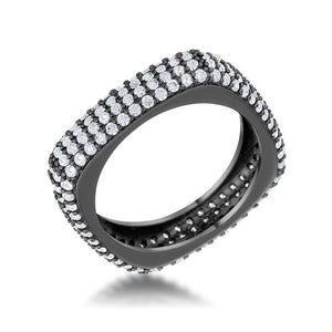 Jana 1.29ct CZ Hematite Contemporary Square Band Ring