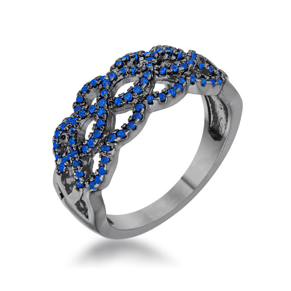 Brina 0.4ct Sapphire CZ Hematite Contemporary Twist Wide Ring
